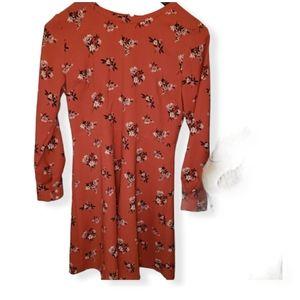 Ann Taylor- Loft Burnt Orange Long Sleeve Floral D